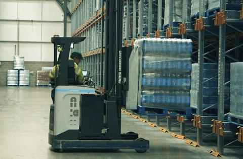 A UniCarriers reach truck in the Britvic warehouse