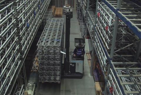 A UniCarriers TERGO UFW multi-directional reach truck operates in Mac's warehouse