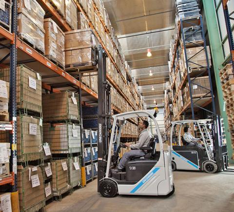 The TX3 lifting pallets in the warehouse
