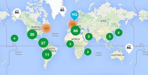 A map of UniCarriers' presence across the globe