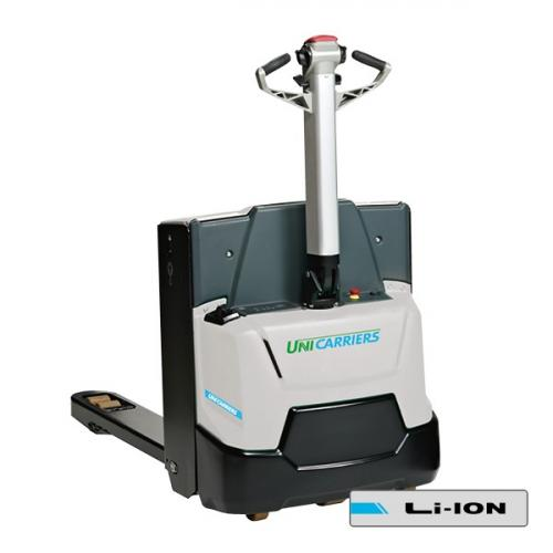 Compact pedestrian pallet truck with forklift