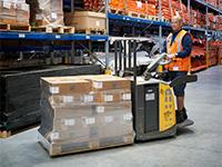 A UniCarriers PLP pallet truck in use at Johnson Controls